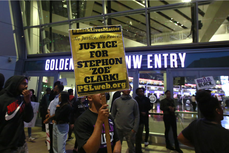 Demonstrators protesting the shooting death of Stephon Clark by Sacramento police officers block the entrance to the Golden 1 Center, preventing ticket holders who weren't already inside from watching the Dallas Mavericks play the Sacramento Kings. (AP)