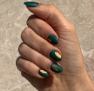 """Add gilded holographic foil over forest green for a Midas touch, and a <a href=""""https://shop-links.co/1724789711025651660"""" rel=""""nofollow noopener"""" target=""""_blank"""" data-ylk=""""slk:matte topcoat"""" class=""""link rapid-noclick-resp"""">matte topcoat</a> over everything for a soft, modern vibe."""
