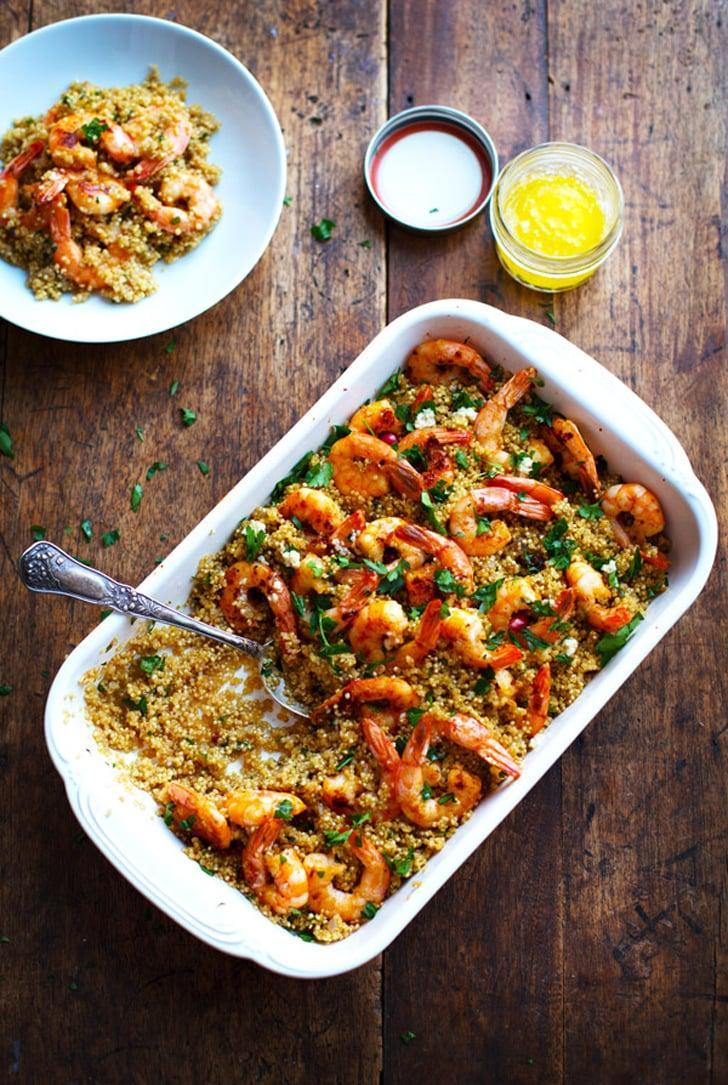 """<p>To make <a href=""""http://pinchofyum.com/garlic-butter-shrimp-quinoa"""" class=""""link rapid-noclick-resp"""" rel=""""nofollow noopener"""" target=""""_blank"""" data-ylk=""""slk:garlic butter shrimp and quinoa"""">garlic butter shrimp and quinoa</a> into a meal, add a simple side salad or roasted vegetables.</p>"""