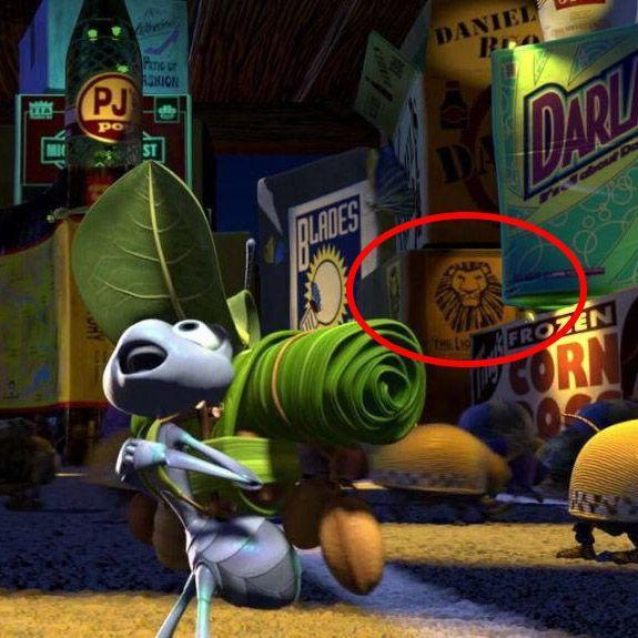 <p><em>Dumbo</em> isn't the only non-Pixar Disney property to get recognized in <em>A Bug's Life</em><em> — </em>in a field of fake advertisements behind Flik, you can spot one real logo for the stage musical adaptation of <em>The Lion King</em>. </p>
