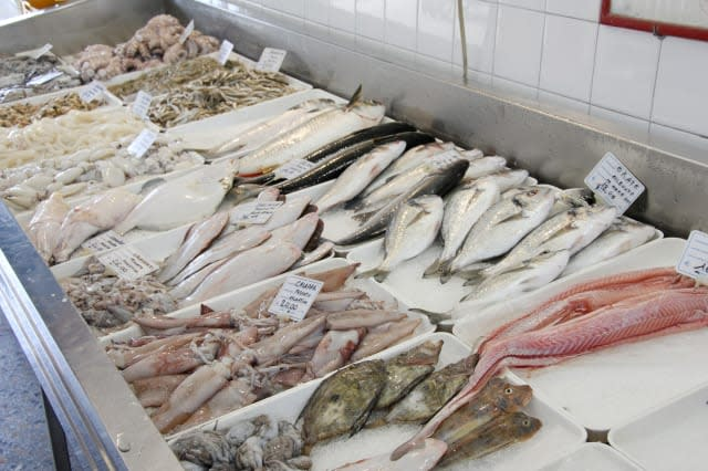 Fresh fish in a refrigerated counter, Caorle, Venezia, Veneto, Italy