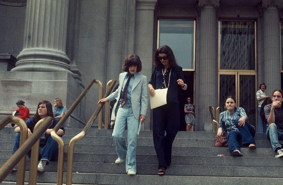 <p>Jacqueline Kennedy Onassis and her son John F. Kennedy Jr. as they leave the Metropolitan Museum of Art.</p>