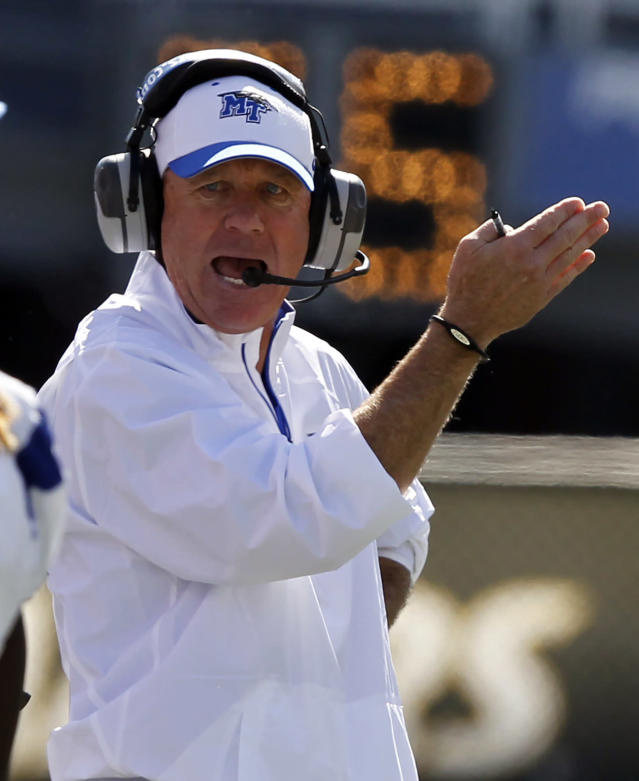 Middle Tennessee State coach Rick Stockstill reacts to UAB stopping his offense on fourth down during the first half of an NCAA college football game on Saturday, Nov. 2, 2013, in Birmingham, Ala. (AP Photo/Butch Dill)