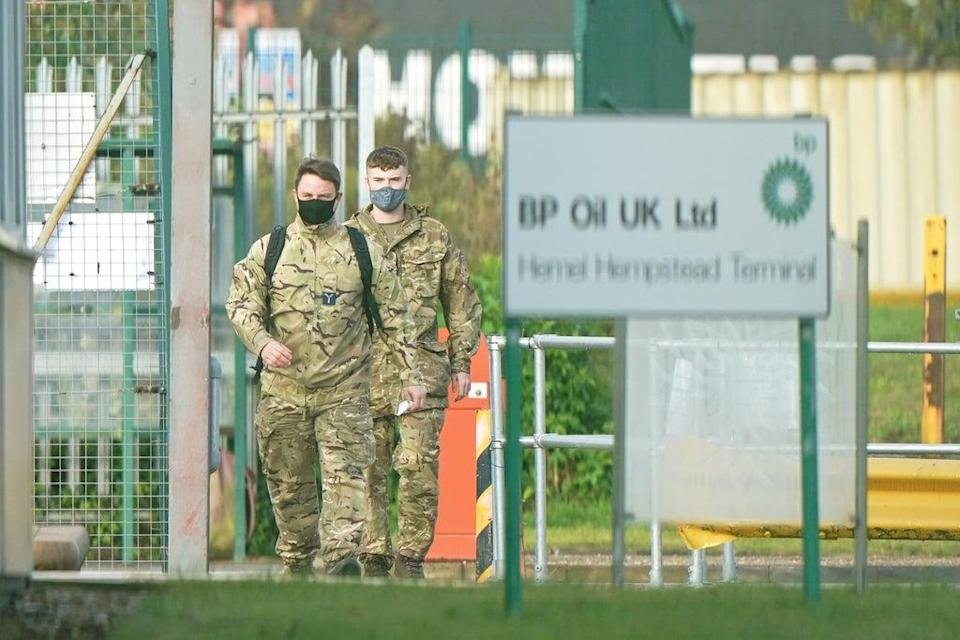 Members of the armed forces at the Hertfordshire Oil Storage Terminal in Hemel Hempstead (Joe Giddens/PA) (PA Wire)