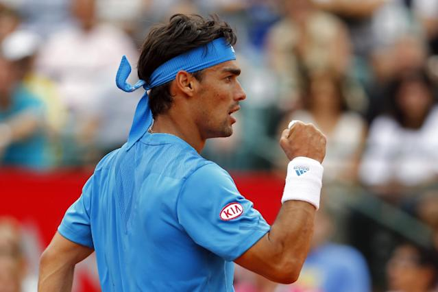 Italy's Fabio Fognini celebrates a point during his Buenos Aires' Copa Claro Open semifinal tennis match with Spain's Tommy Robredo in Buenos Aires, Argentina, Saturday, Feb. 15, 2014. (AP Photo/Victor R. Caivano)