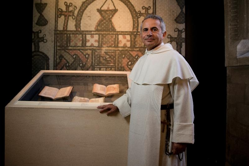 Iraqi friar Najeeb Michaeel poses on May 22 , 2015 in Paris at the Hotel de Soubise, where the national archives of France are preserved