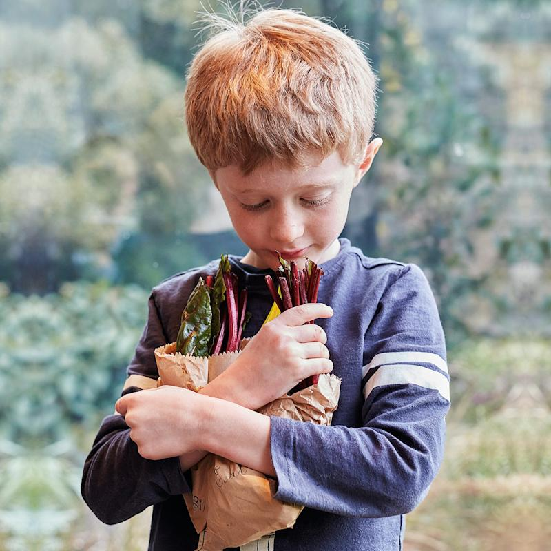 boy holding rainbow chard - Credit: Kitty Gale