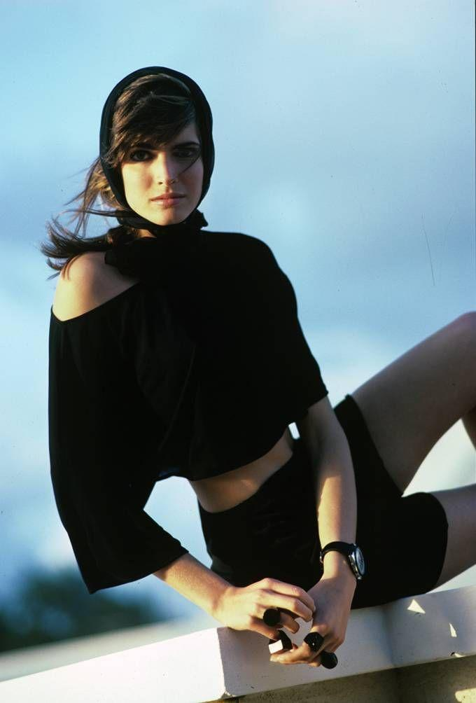 <p>Stephanie Seymour just causally rocking bike shorts during a magazine photoshoot. The model was at her peak fame in the late '80s. </p>