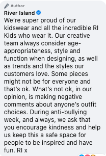 Screenshot of River Island response to criticism of 'too adult' girls top and legging combo