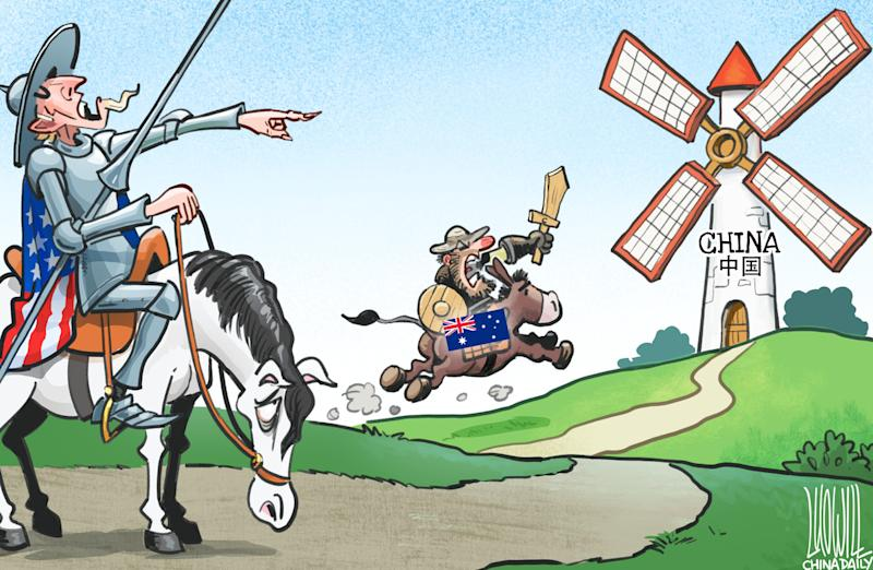 Luo Jie's cartoon depicting Australia taking orders from the US. Source: China Daily