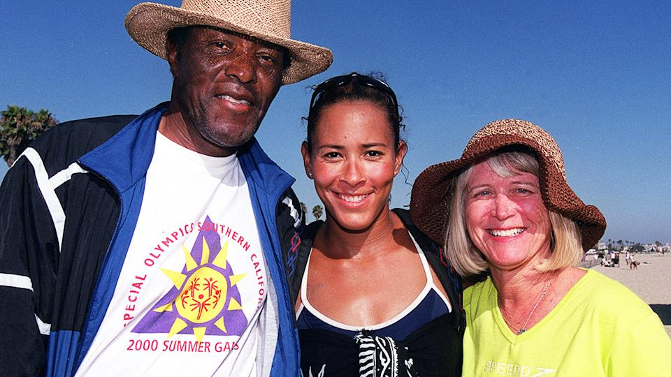 Rafer Johnson, pictured here with daughter Jennifer Johnson-Jordan and wife Betsey Johnson.