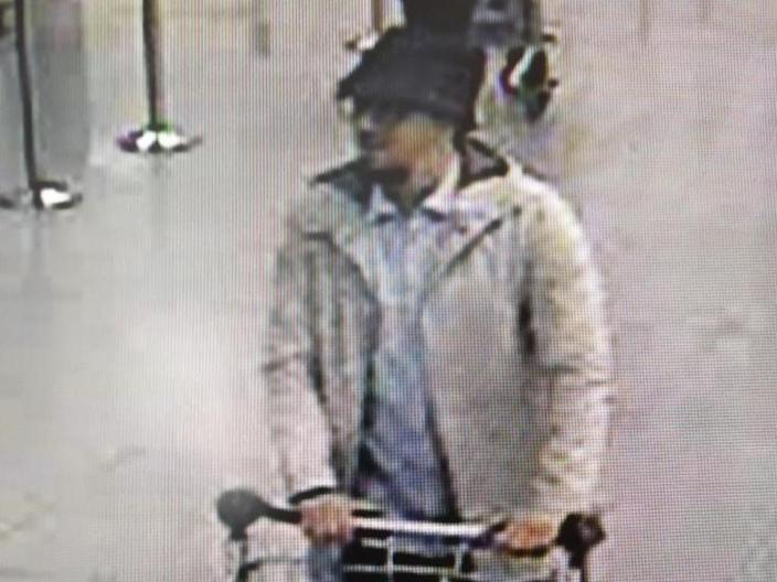 "Mohamed Abrini was dubbed the ""man in the hat"" after this CCTV image showed him moments before the Brussels airport bombing in March 2016 (AFP Photo/)"