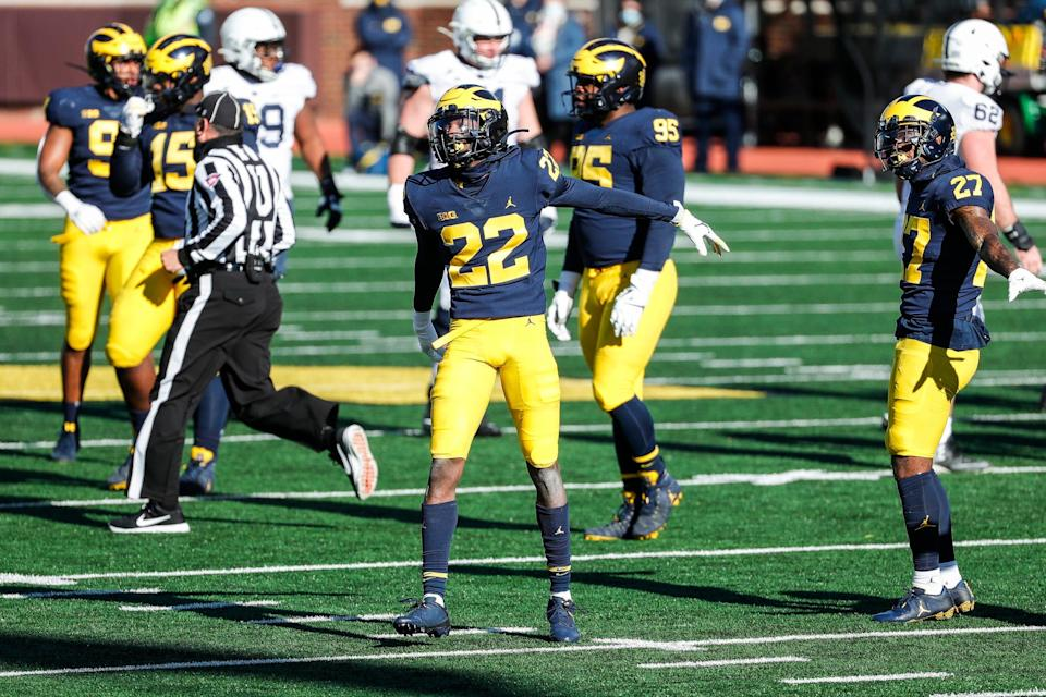 Michigan defensive back Gemon Green celebrates a tackle against Penn State during the first half at Michigan Stadium in Ann Arbor, Saturday, Nov. 28, 2020.