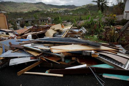 Debris is seen outside a home damaged by Hurricane Maria is seen in the Trujillo Alto municipality outside San Juan