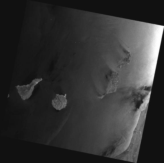 Envisat's Advanced Synthetic Aperture Radar (ASAR) captured this image on April 8, 2012 at 11:09 GMT. The image was transmitted in X-band to the Santa Maria station in the Azores, Portugal, operated by Edisoft. It shows Spain's Canary Islands.
