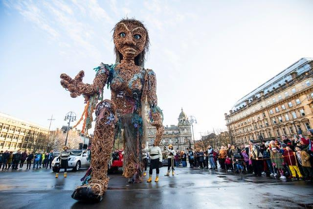Scotland's largest puppet, a ten-metre tall sea goddess called Storm, featured in the 2020 festival