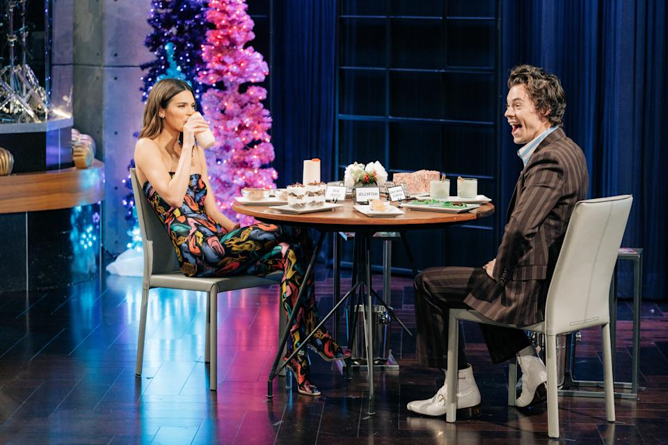 LOS ANGELES - DECEMBER 10: Harry Styles guest-hosts The Late Late Show with James Corden airing Tuesday, December 10, 2019, with guests Tracee Ellis Ross and Kendall Jenner. (Photo by Terence Patrick/CBS via Getty Images)