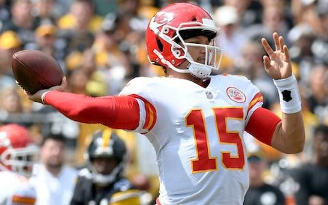 Kansas City Chiefs quarterback Patrick Mahomes (15) plays in the first quarter of an NFL football game against the Pittsburgh Steelers - Credit: AP Photo/Don Wright