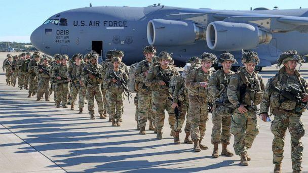 PHOTO: U.S. Army Paratroopers with the 82nd Airborne Division, deploy from Pope Army Airfield, N.C., Jan. 1, 2020. The Immediate Response Force is being deployment to Baghdad following violent protesters that attacked the U.S. Embassy compound. (Capt. Robyn Haake/U.S. Army)