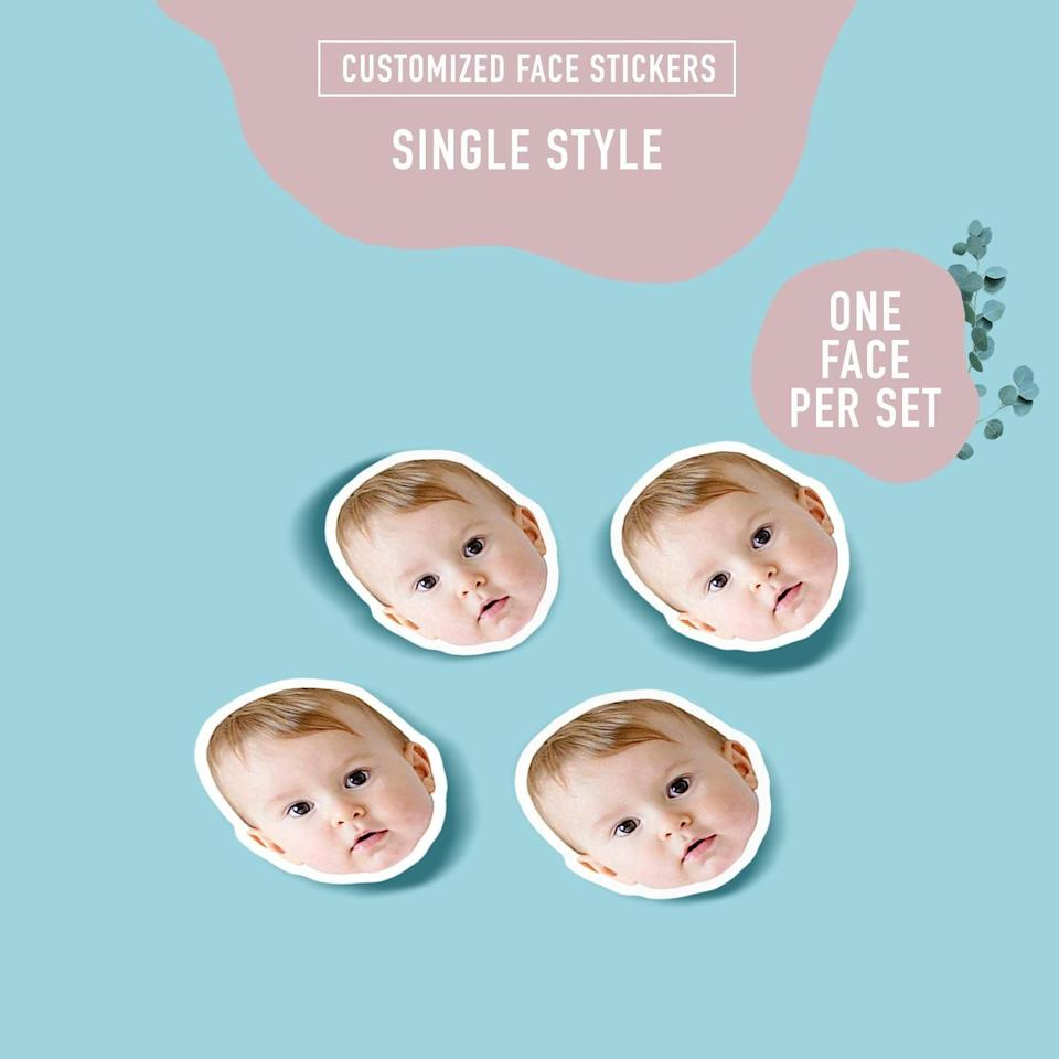 """<h2><a href=""""https://fave.co/3jiaE1U"""" rel=""""nofollow noopener"""" target=""""_blank"""" data-ylk=""""slk:One Face Custom Photo Stickers"""" class=""""link rapid-noclick-resp"""">One Face Custom Photo Stickers</a></h2><br>Whether it's stickers of their face, your face, a pet, or whoever, a kooky present like this one will make anyone smile. Also great for sticking on wrapping paper.<br><br><br><br><strong>Sniffkissalpaca</strong> One Face Custom Photo Stickers, $, available at <a href=""""https://go.skimresources.com/?id=30283X879131&url=https%3A%2F%2Ffave.co%2F3jiaE1U"""" rel=""""nofollow noopener"""" target=""""_blank"""" data-ylk=""""slk:Etsy"""" class=""""link rapid-noclick-resp"""">Etsy</a>"""