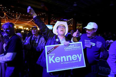 FILE PHOTO: Supporters react to polling results at the UCP election night headquarters in Calgary