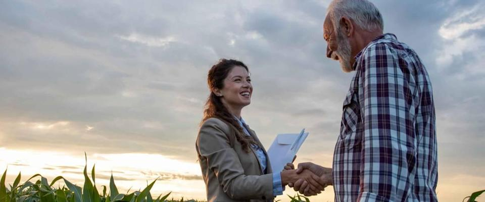 Senior man farmer shaking hands with young pretty woman with notebook in corn field. Insurance in agribusiness concept