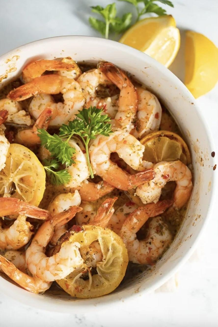 """<p>Do you need dinner and do you need it <em>fast</em>? This shrimp recipe is for you! Made with only five ingredients, this delicious dinner is both flavorful and light.</p> <p><strong>Get the recipe</strong>: <a href=""""https://www.myforkinglife.com/air-fryer-lemon-garlic-shrimp/"""" class=""""link rapid-noclick-resp"""" rel=""""nofollow noopener"""" target=""""_blank"""" data-ylk=""""slk:air fryer lemon garlic shrimp"""">air fryer lemon garlic shrimp</a></p>"""