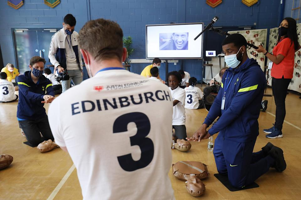 Japhet Tanganga has having CPR lessons, hosted by JE3 Foundation, set-up in memory of Justin Edinburgh, at Riverley Primary School