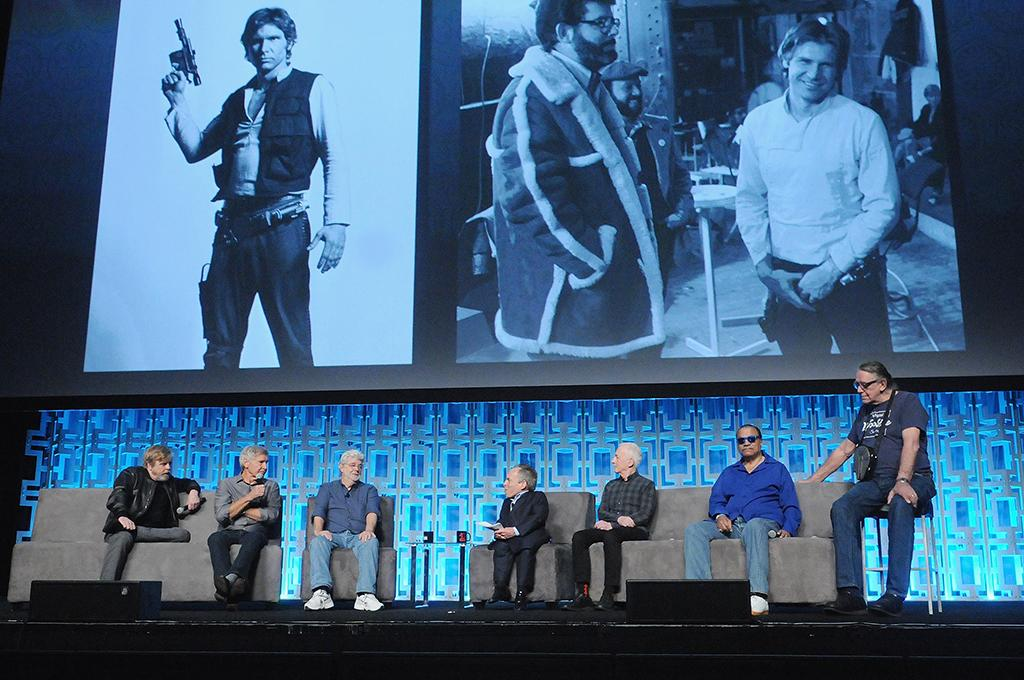 <p>Mark Hamill, Harrison Ford, George Lucas, Warwick Davis, Anthony Daniels, Billy Dee Williams and Peter Mayhew (Photo: Gerardo Mora/Getty Images) </p>