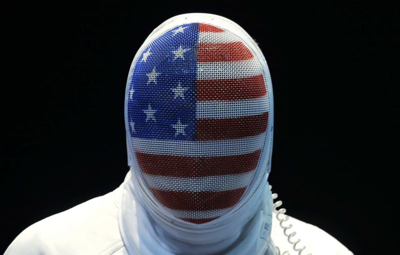 The United State's Seth Kelsey looks on during his match against Estonia's Nikolai Novosjolov in the men's individual epee fencing competition at the 2012 Summer Olympics, Wednesday, Aug. 1, 2012, in London.(AP Photo/Dmitry Lovetsky)