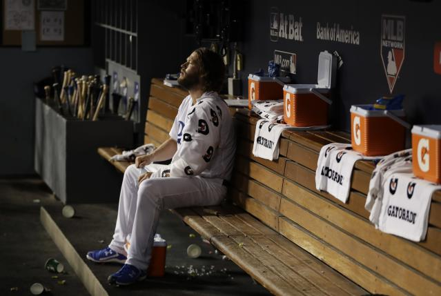 Clayton Kershaw threw four scoreless innings of relief in Game 7 of the World Series. (AP)