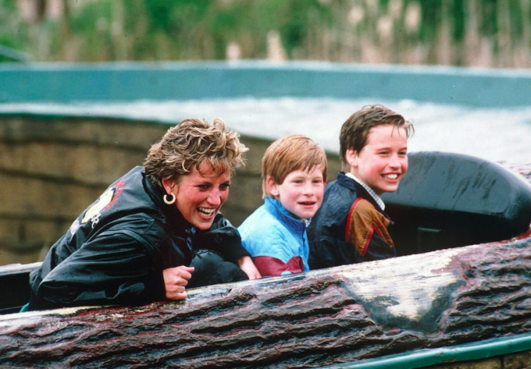 Diana with William and Harry at Thorpe Park in 1993 (Picture: Rex)
