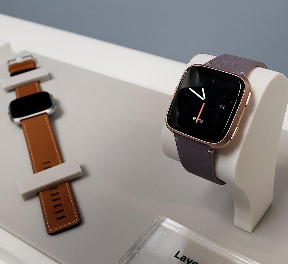 Some of the leather bands available for the Versa.