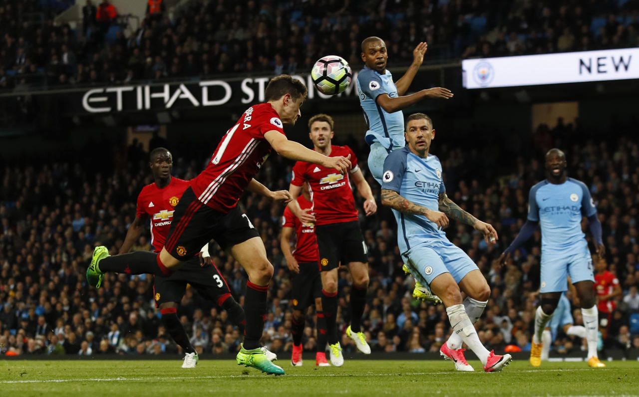 """Britain Soccer Football - Manchester City v Manchester United - Premier League - Etihad Stadium - 27/4/17 Manchester United's Ander Herrera misses a chance to score  Action Images via Reuters / Jason Cairnduff Livepic EDITORIAL USE ONLY. No use with unauthorized audio, video, data, fixture lists, club/league logos or """"live"""" services. Online in-match use limited to 45 images, no video emulation. No use in betting, games or single club/league/player publications.  Please contact your account representative for further details."""