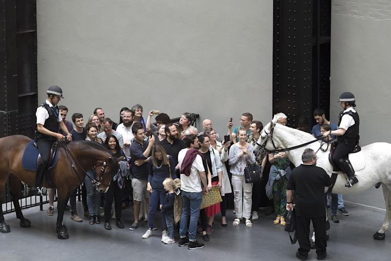 Immersive: Tania Bruguera brought two mounted police officers to Tate for her work Tatlin's Whisper #5, 2008: Tate