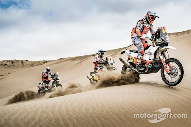 "#17 Red Bull KTM Factory Racing KTM: Laia Sanz, #7 HERO Motorsports Team Rally: Oriol Mena, #114 Bas Dakar Team: Ross Branch <span class=""copyright"">KTM </span>"