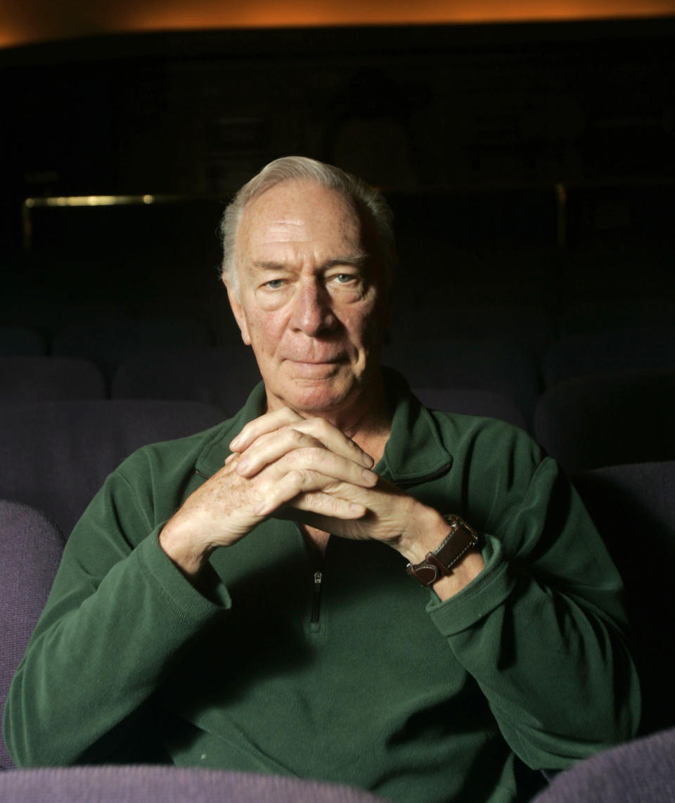 """FILE - Actor Christopher Plummer poses on May 17, 2007, in New York. Plummer, the dashing award-winning actor who played Captain von Trapp in the film """"The Sound of Music"""" and at 82 became the oldest Academy Award winner in history, has died. He was 91. Plummer died Friday morning, Feb. 5, 2021, at his home in Connecticut with his wife, Elaine Taylor, by his side, said Lou Pitt, his longtime friend and manager. (AP Photo/Frank Franklin II, File)"""