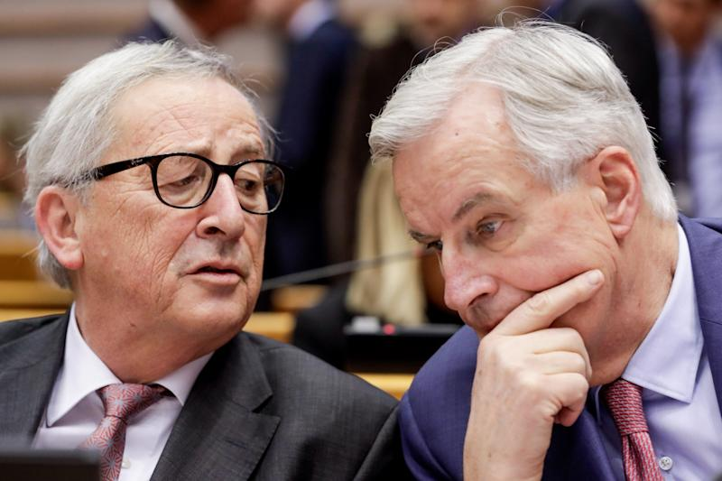Standing firm on the backstop: Jean-Claude Juncker and Michel Barnier (EPA)