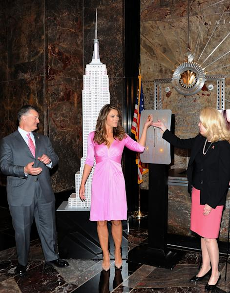 Spokesperson and model Elizabeth Hurley, center, The Estee Lauder Companies executive chairman William Lauder and Rose Gill Hearn is the Commissioner for the Department of Investigation, light the Empire State Building pink in honor of the 20th Anniversary of the Estee Lauder Companies' Breast Cancer Awareness Campaign on Monday, Oct. 1, 2012 in New York. (Photo by Evan Agostini/Invision/AP)