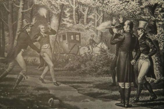 Alexander Hamilton exhibit at the Smithsonian National Postal Museum shows Aaron Burr (r) dueling with Hamilton (AP)