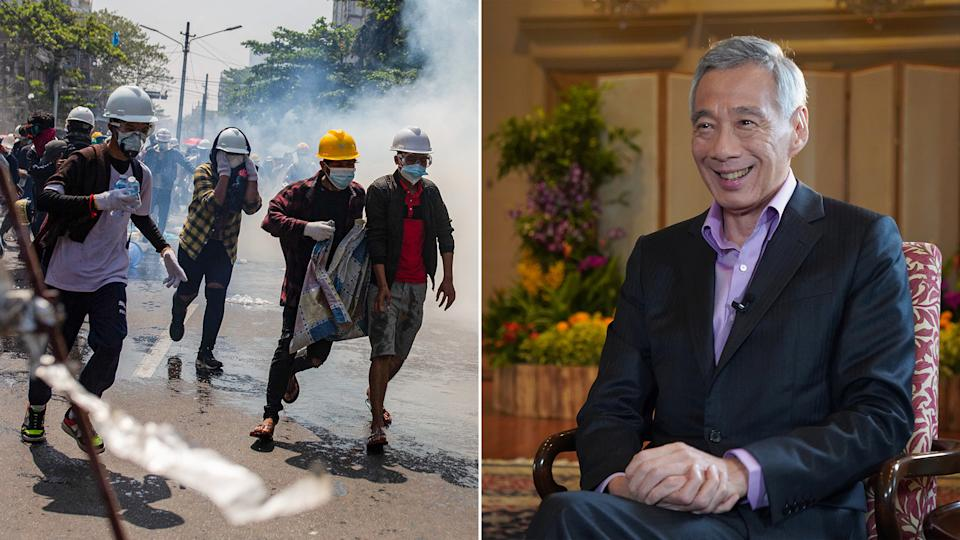 During his interview with the BBC, Singapore's Prime Minister Lee Hsien Loong (right) said that the use of lethal force against demonstrators in Myanmar was