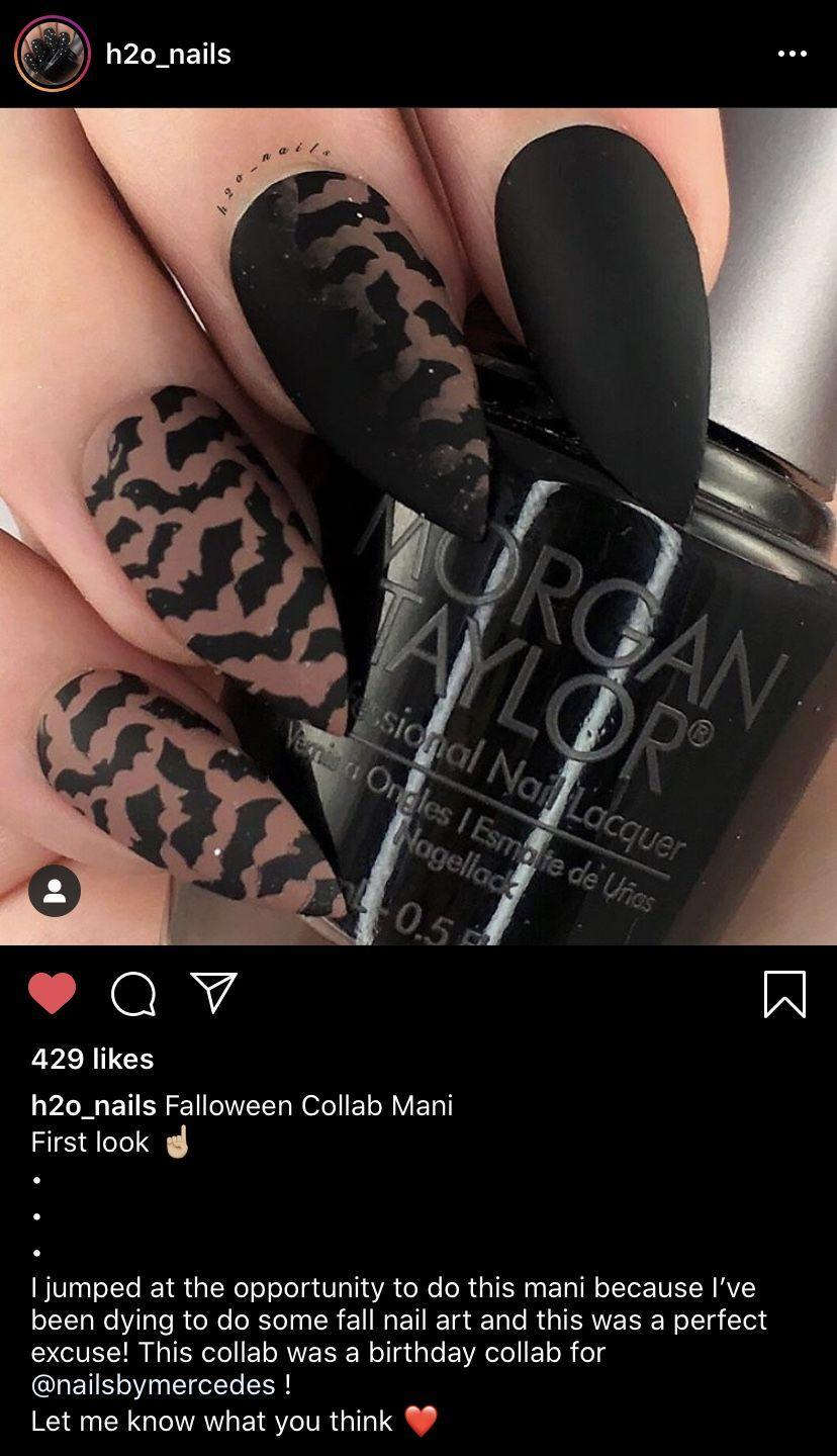 """<p>Lean in on the popular Halloween motif—bats—just like <a href=""""https://www.instagram.com/h2o_nails/"""" rel=""""nofollow noopener"""" target=""""_blank"""" data-ylk=""""slk:nail artist Holly"""" class=""""link rapid-noclick-resp"""">nail artist Holly</a>! To get this bold allover bat look, try <a href=""""https://go.redirectingat.com?id=74968X1596630&url=https%3A%2F%2Fwww.etsy.com%2Flisting%2F643969105%2Fbats-stencils-for-nails-halloween-nail&sref=https%3A%2F%2Fwww.oprahdaily.com%2Fbeauty%2Fskin-makeup%2Fg33239588%2Fhalloween-nail-ideas%2F"""" rel=""""nofollow noopener"""" target=""""_blank"""" data-ylk=""""slk:stencils"""" class=""""link rapid-noclick-resp"""">stencils</a>, or if you want a more subtle but quick design, a fun top coat works well.</p><p><a class=""""link rapid-noclick-resp"""" href=""""https://go.redirectingat.com?id=74968X1596630&url=https%3A%2F%2Fwww.etsy.com%2Flisting%2F481868167%2Fblack-bats-glitter-nail-polish-top-coat&sref=https%3A%2F%2Fwww.oprahdaily.com%2Fbeauty%2Fskin-makeup%2Fg33239588%2Fhalloween-nail-ideas%2F"""" rel=""""nofollow noopener"""" target=""""_blank"""" data-ylk=""""slk:SHOP BATS TOP COAT"""">SHOP BATS TOP COAT</a></p>"""