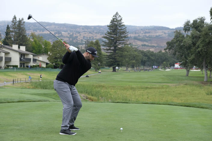 Jon Rahm hits from the first tee during the first round of the Fortinet Championship PGA golf tournament, Thursday, Sept. 16, 2021, at the Silverado Resort North Course in Napa, Calif. (AP Photo/Eric Risberg)