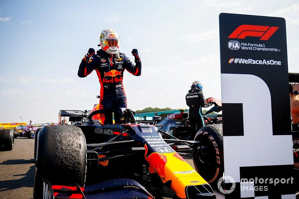 """Race Winner Max Verstappen, Red Bull Racing celebrates in Parc Ferme <span class=""""copyright"""">Andy Hone / Motorsport Images</span>"""