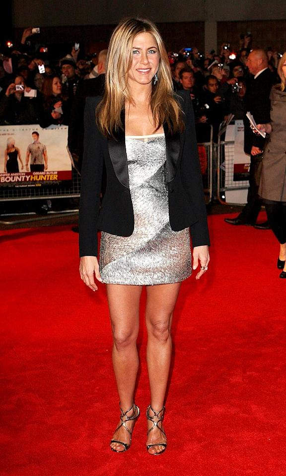 """Although she still retains her """"girl next door"""" image, Jennifer Aniston has become increasingly chic over the years while transitioning from sitcom star to big screen queen. At the London premiere of """"The Bounty Hunter,"""" the A-list actress showed off her gorgeous gams in a silver Valentino stunner and matching Jimmy Choo sandals. Jon Furniss/<a href=""""http://www.wireimage.com"""" target=""""new"""">WireImage.com</a> - March 11, 2010"""