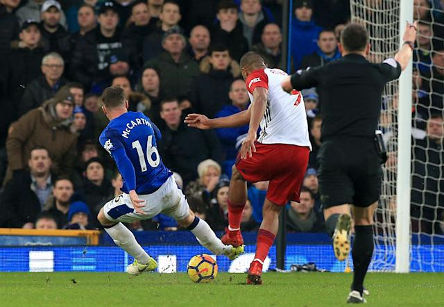 James McCarthy's leg break, right after the moment of impact. (Getty)