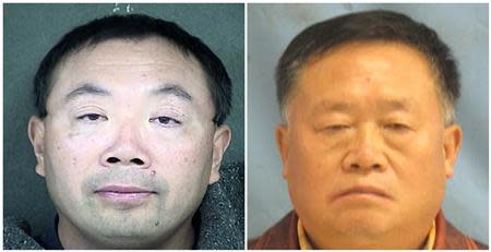 A combination photo shows Zhang Weiqiang (L) and Yan Wengui (R) in these handout photos released on December 12, 2013. REUTERS/Wyandotte County Detention Center and Pulaski County Sherrif's Office