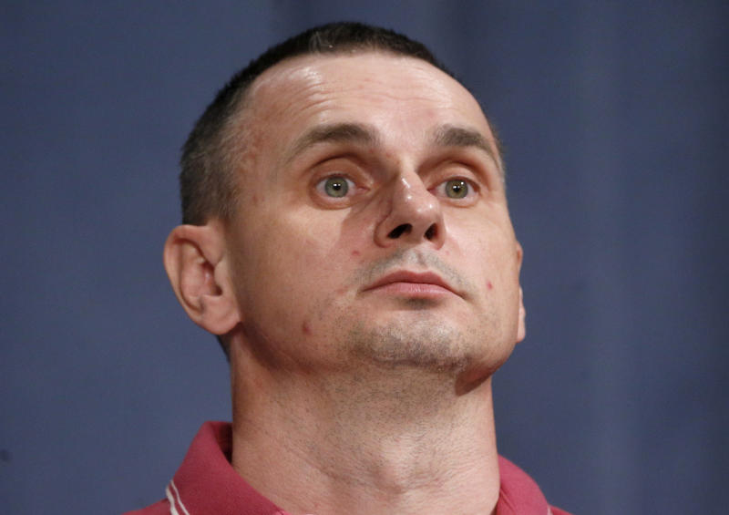 Ukrainian filmmaker Oleg Sentsov, former Russian prisoner, attends his press conference in Kyiv, Ukraine, Tuesday, Sept. 10, 2019. After five years of being locked up in a Russian prison Sentsov was one of the 35 freed Ukrainian prisoners. (AP Photo/Efrem Lukatsky)