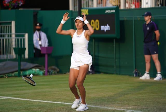 Emma Raducanu reacts after achieving the biggest win of her career against Marketa Vondrousova to reach the third round at Wimbledon