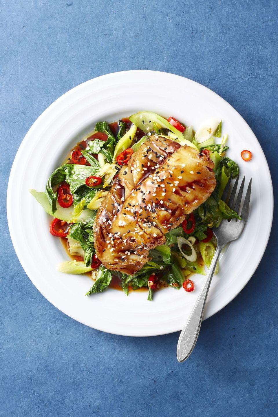 """<p>Tender cod fillets can be broiled to perfection in just seven minutes. But you'll be amazed by this sweet glaze that comes together in 60 seconds (<a href=""""https://www.goodhousekeeping.com/food-recipes/g33484904/microwave-recipes/"""" rel=""""nofollow noopener"""" target=""""_blank"""" data-ylk=""""slk:thanks to your microwave!"""" class=""""link rapid-noclick-resp"""">thanks to your microwave!</a>).</p><p><em><a href=""""https://www.goodhousekeeping.com/food-recipes/easy/a46651/soy-glazed-cod-and-bok-choy-recipe/"""" rel=""""nofollow noopener"""" target=""""_blank"""" data-ylk=""""slk:Get the recipe for Soy-Glazed Cod and Bok Choy »"""" class=""""link rapid-noclick-resp"""">Get the recipe for Soy-Glazed Cod and Bok Choy »</a></em></p>"""